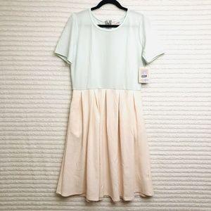 LuLaRoe Amelia Womens XL Mint Green Peach Dress